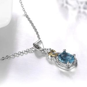 Jewelry - Blue Topaz Sterling Silver 925 CZ Necklace